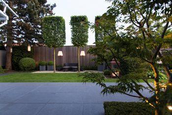 Das grüne Wohnzimmer, von Kerzen und elektrischer Gartenbeleuchtung stimmungsvoll in Szene gesetzt