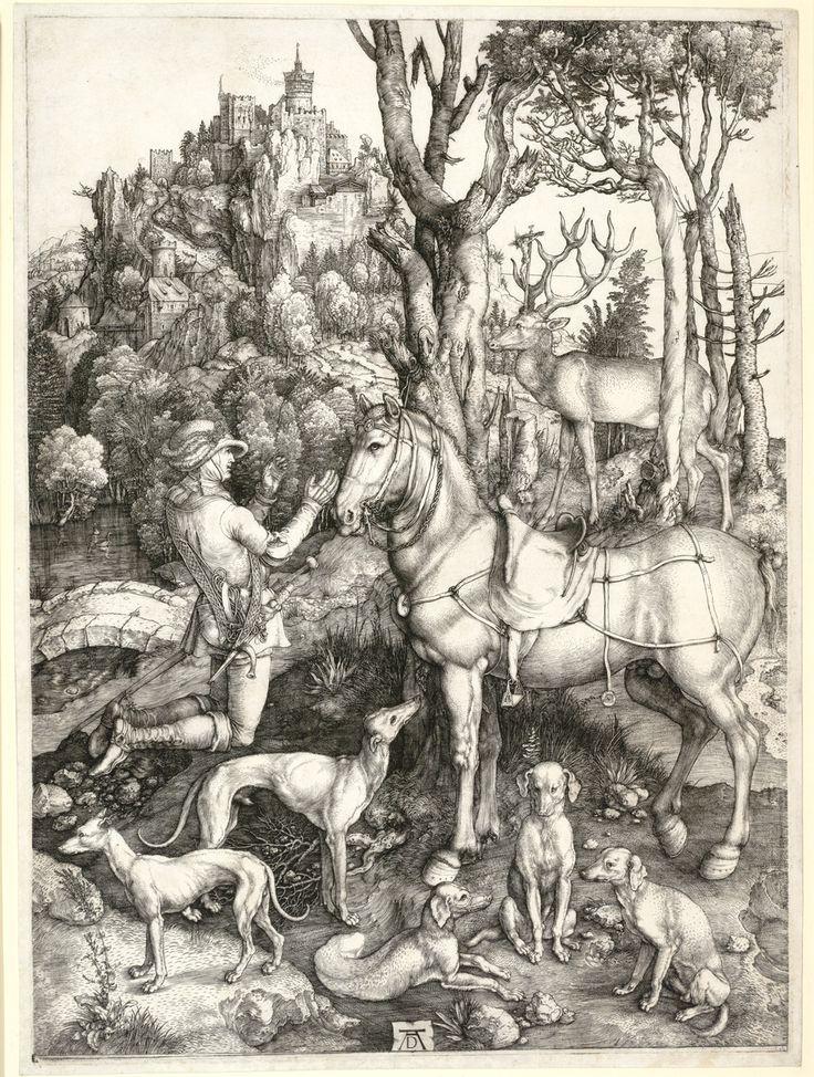 Albrecht Dürer, Saint Eustace, c. 1501, engraving, 36 x 26 cm (14 1/8 x 10 1/4 in.), Albertina, Vienna
