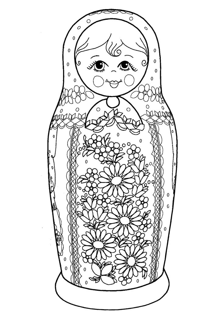 Free Russian doll coloring page, from www.coloringpages