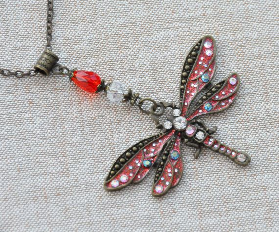 Handpainted Dragonfly necklace Victorian Dragonfly by Blackpassion