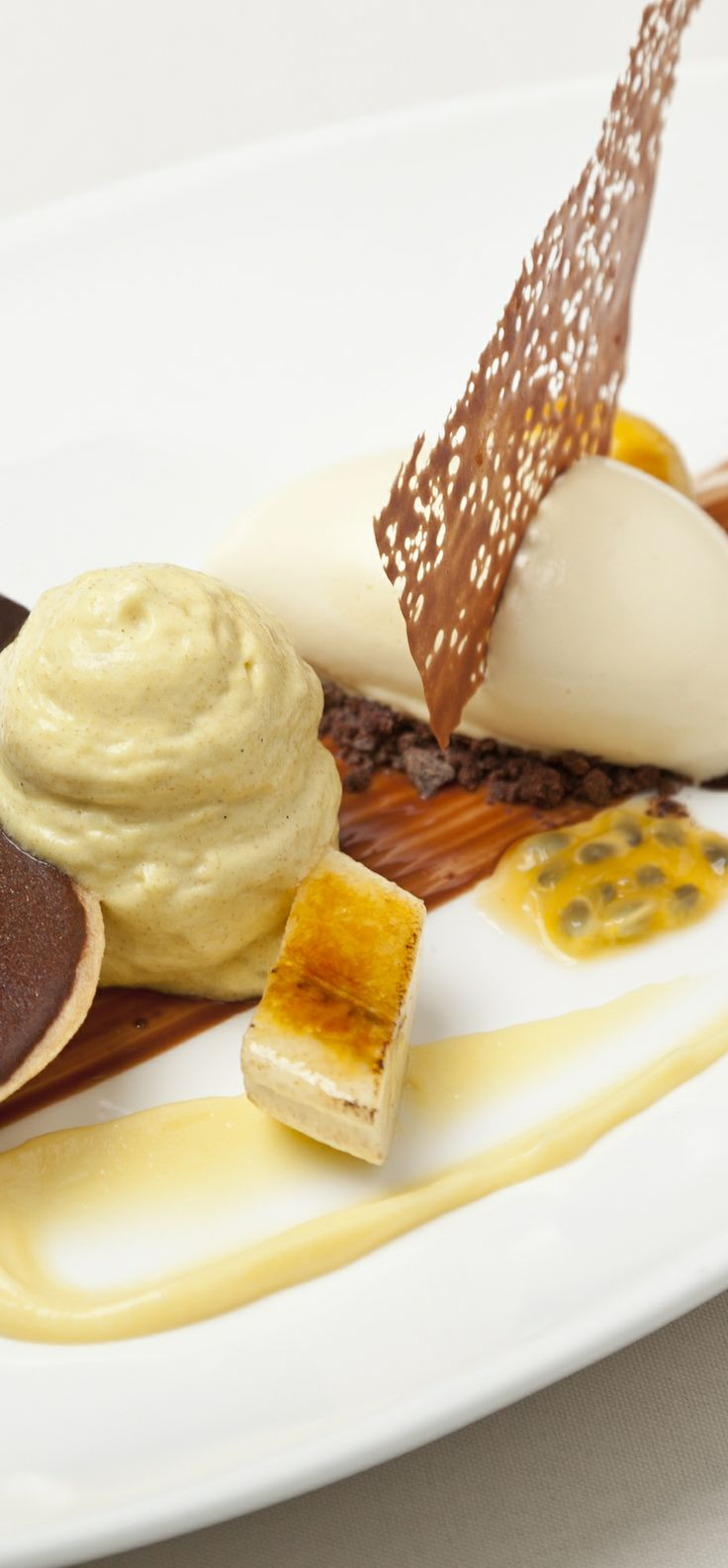 Hot chocolate tart with banana and passion fruit ice cream - Simon Haigh