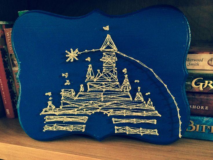 Disney castle string & nail art