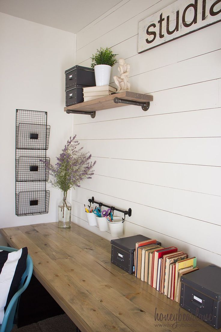 If you need a large desk to fill a space, here's the perfect solution: build a farmhouse desk! It's a rustic industrial solution for less than $200.