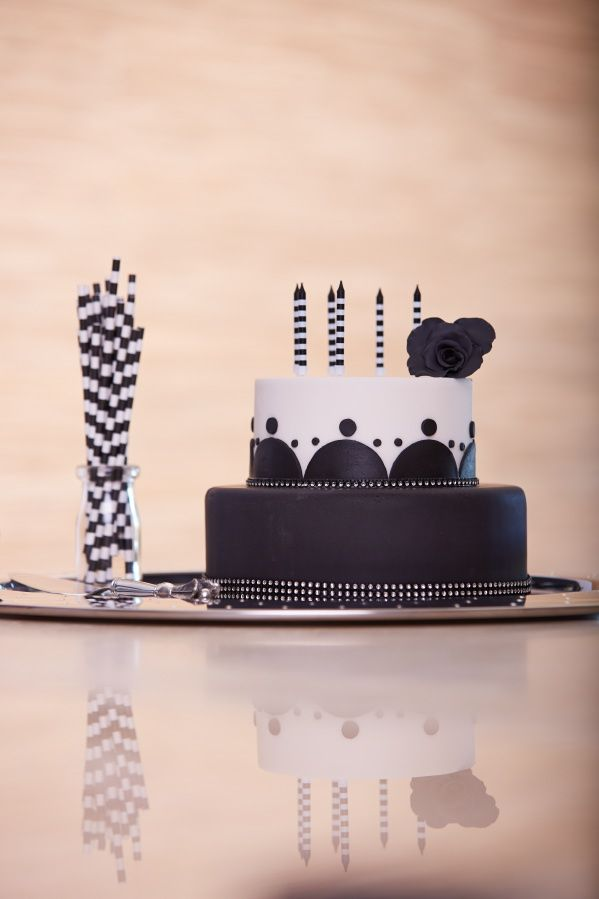 Black & White Birthday Cake