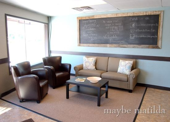 Chiropractic Office waiting room -- love the furniture and the chalkboard