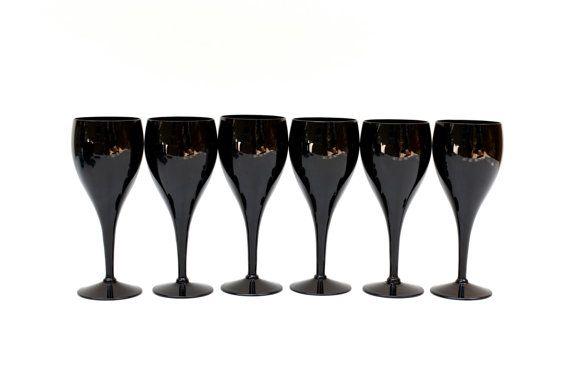 Love these! black wine glasses vintage wine glasses mid by amillionmoths, $65.00