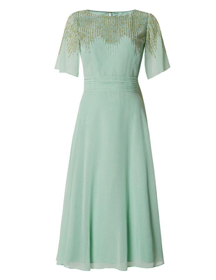 Green embellished shoulder dress, No.1 Jenny Packham at Debenhams High street bridesmaid dresses 2016 #bridesmaid #dress