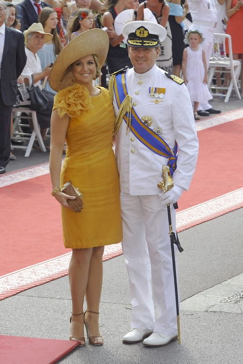 Crown Prince Willem-Alexander and Princess Maxima of The Netherlands...Love the gold ensemble