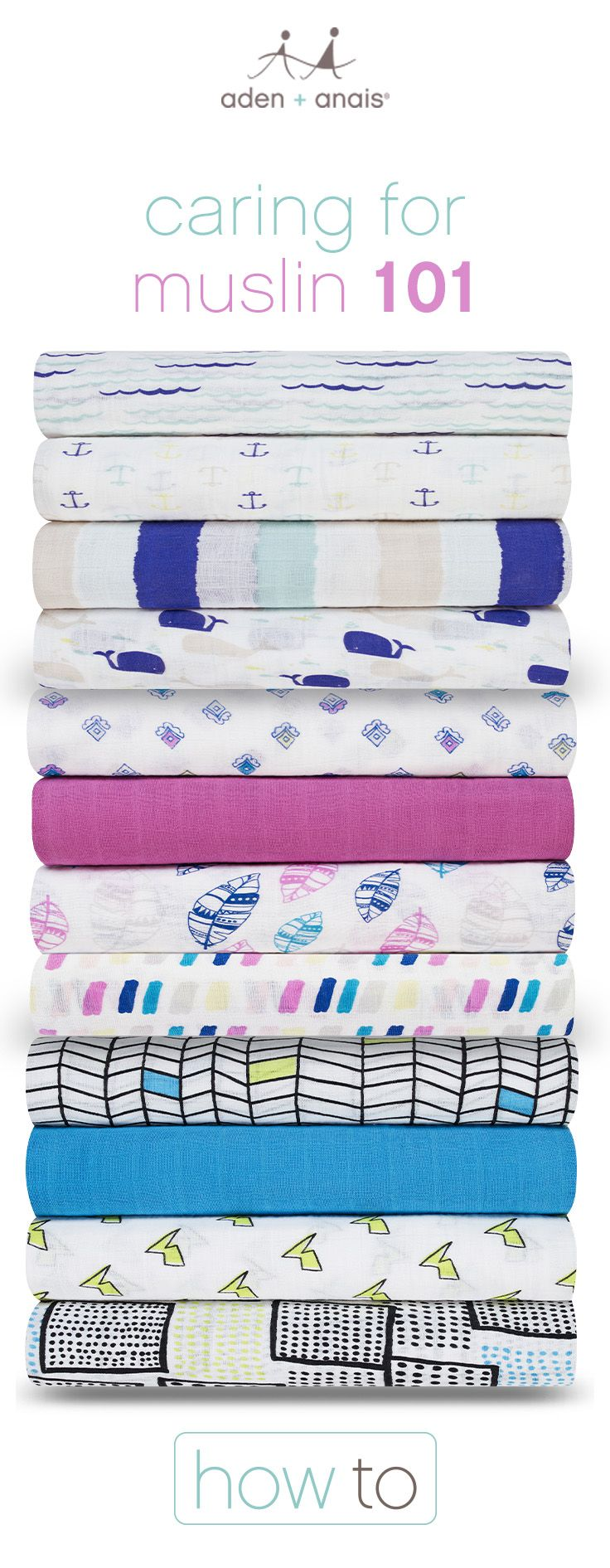 Here are a few tips to keep your aden + anais muslin items looking fresh and new.