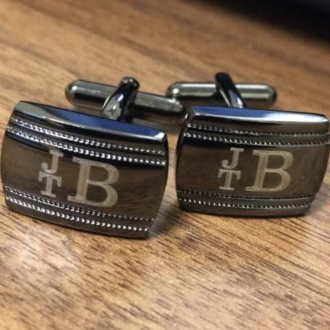 Save this pin for your upcoming wedding! Rock your tuxedo in style with these classy monogrammed cuff links.  Every Groom, Best Man and Groomsman want to look sharp during the wedding and these will definitely help.  Use them again and again for all formal events afterwards and be the talk of the night.