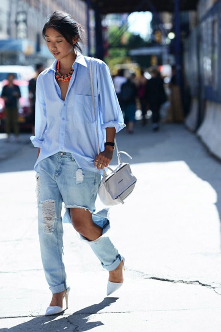 denim shirt + ripped jeans + statement necklace