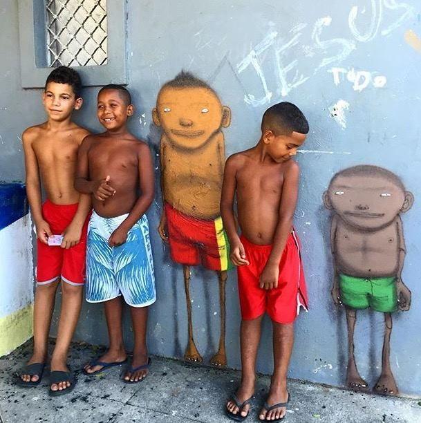 Os Gemeos in Rio de Janeiro, Brazil, 2016