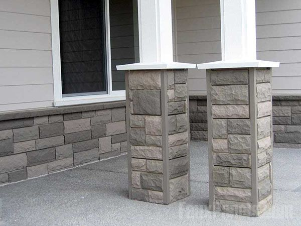 fake rock wall panels interior faux stone using synthetic corner pieces helps exterior columns pop matching house for fireplace lowes
