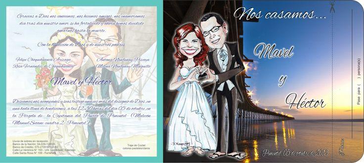Tarjeta matrimonio moñitos Diseño: Héctor y Mavel