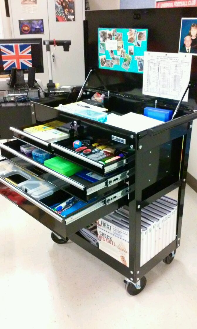 "The US General 26"" 4-drawer tool cart is hot for teacher! #HarborFreight #ToolStorage #schoolcart"