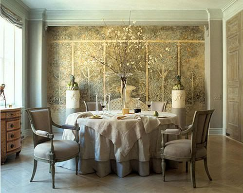 neutral fabric and funiture with gold flecked wall