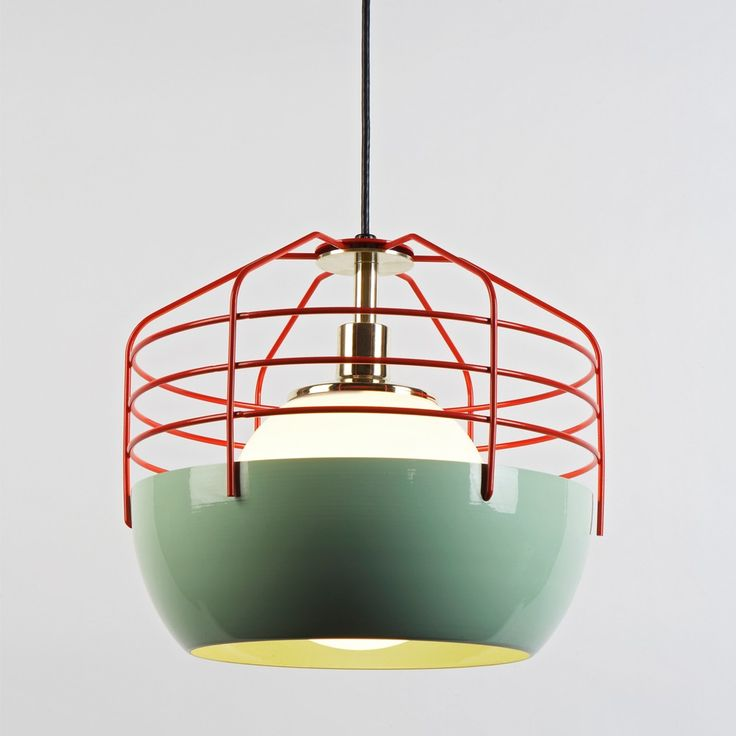 """The 14"""" Bluff City pendant light by Jonah Takagi would look great in an industrial kitchen, studio apartment or restaurant.   $750 - available in mint/red, creme/brown and white/brass"""