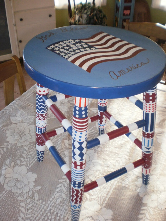 Hand Painted Folk Art Stool Whimsical Gypsy Folk Art Red White Blue  Patriotic1736 best Red White and Blue images on Pinterest   American flag  . Red White And Blue Painted Furniture. Home Design Ideas