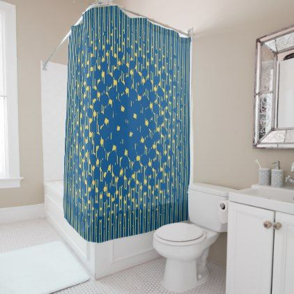 Density in Lapis Blue and Primrose Yellow Shower Curtain - shower gifts diy customize creative