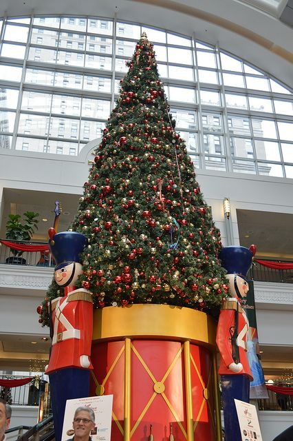 Christmas in Tower City, Cleveland, Ohio. Tower City Center (formerly known as Cleveland Union Terminal) is a large mixed-use facility located on Public Square in downtown Cleveland. The facility is composed of a number of interconnected office buildings, including the landmark Terminal Tower, a shopping mall, a casino, two hotels, and the main hub of Cleveland's three rapid transit lines. (V)
