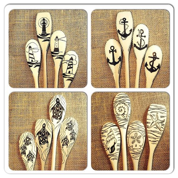 Custom Nautical Wood Spoons, Lighthouses, Sea Turtles, Sea Shells, Anchors, Housewarming or New Apartment gift, Mother's Day gift, set of 4