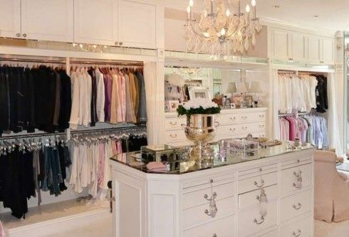 "Closet of my dreams! Hubby would appreciate the ""baskets"" being gone if my closet was this big they would be!"