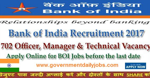 Bank of India Recruitment 2017 for 702 Posts, BOI SO 2017 Online Apply, Bank of India SO Recruitment 2017 Apply BOI 702 Specialist Officers, Bank of India Recruitment 2017 Apply 702 Specialist Officers Manager Jobs, Bank of India Recruitment 2017 for 702 Officers, Manager & Other Posts, Bank of India Recruitment Notification 2017 for 702 SO Vacancies, Bank of India SO Recruitment 2017 Notification Released: Apply Now, BOI Recruitment 2017 | Apply online for 702 Vacancies Officer & Se...