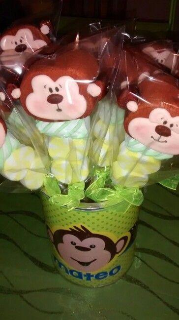 Paletas de bombón changuito. Monkey party
