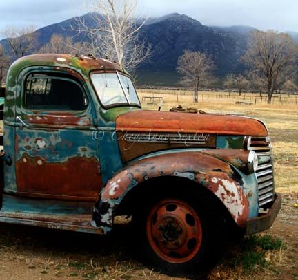 Old Chevrolet Pickup Winter 'Out in the Field' REALLY Big PHOTO 30x30 Antique farm vehicle Brown Rusty Blue on Etsy, $250.00