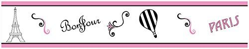 Pink, Black and White Stripe Paris French Eifell Tower Kids and Baby Modern Wall Paper Border Sweet Jojo Designs http://smile.amazon.com/dp/B00N23SABS/ref=cm_sw_r_pi_dp_tmTEvb1501D06