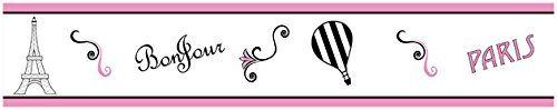 Pink, Black and White Stripe Paris French Eifell Tower Kids and Baby Modern Wall Paper Border Sweet Jojo Designs http://smile.amazon.com/dp/B00N23SABS/ref=cm_sw_r_pi_dp_tmTEvb1501D06