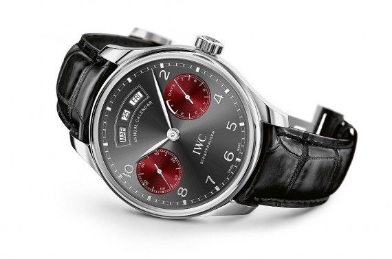 """The IWC Portugieser Annual Calendar Edition """"Tribeca Film Festival 2016"""" - released as a tribute to the TFI, this watch features a 44.2 mm case with a grooved bezel, it holds the automatic winding IWC-manufactured 52850 calibre and is limited to 50 pieces.  More @ http://www.watchtime.com/wristwatch-industry-news/watches/limited-edition-iwc-portugieser-annual-calendar-celebrates-2016-tribeca-film-festival/ #iwcwatches #watchtime #horology #luxurywatch"""