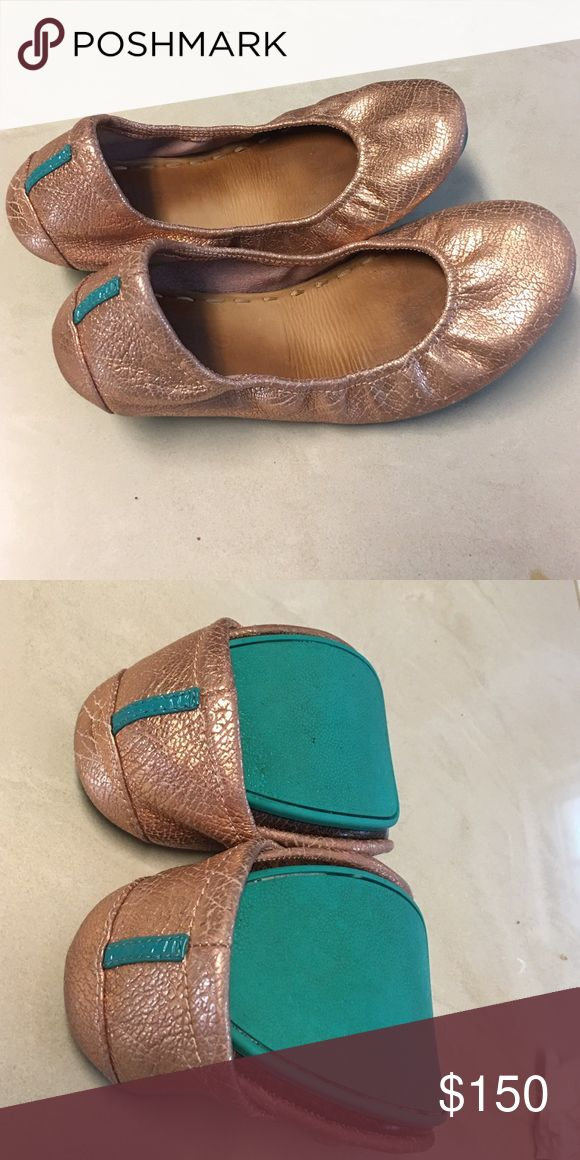 Tieks Rose Gold Glam Used but in great condition tieks! Beautiful metallic rose gold color. Come with box and shoe bag. Tieks Shoes Flats & Loafers