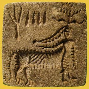 Tiger woman, one of several shown   on stone seals from the Indus valley   (now Pakistan) about 45 centuries ago.