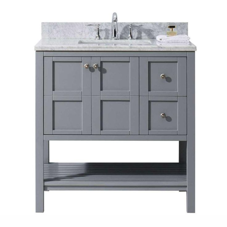 Images Photos Virtu USA Winterfell in W x in D Vanity in Grey with