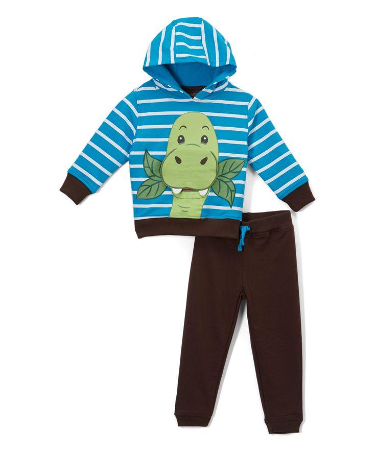 Blue Stripe Dino Hoodie & Brown Joggers - Toddler