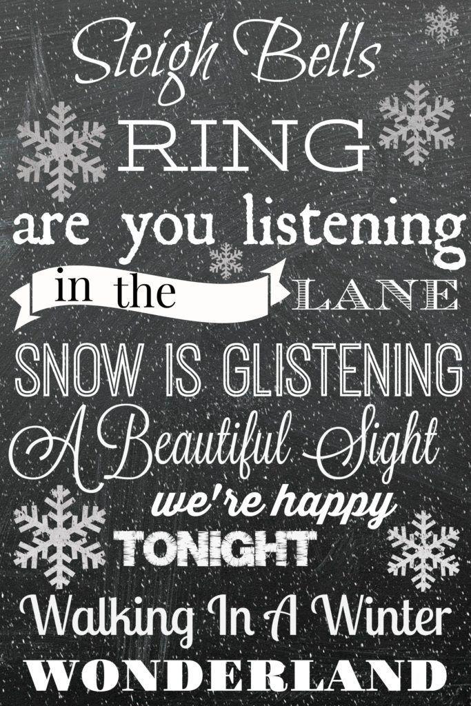 Free Chalkboard Christmas Printable Sleigh Bells Ring