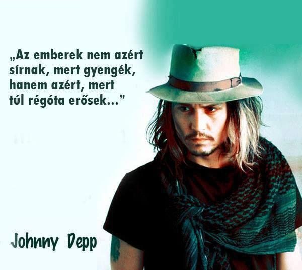 Johnny Depp idézete a sírás okáról. A kép forrása: Útmutató a Léleknek # Facebook