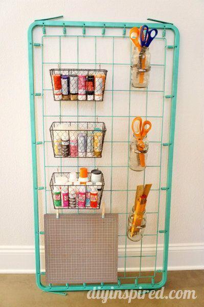Repurposed Crib Bed Spring turned Craft Storage!!