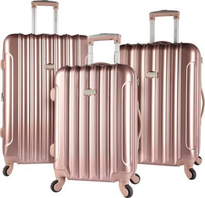 chic travel luggage - Kensie Luggage 3 PC Expandable Hard Side Spinner Luggage Set Rose Gold - Kensie Luggage Luggage Sets