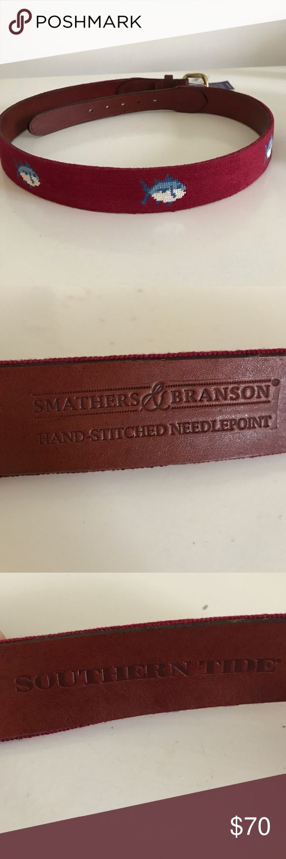 Smathers & Branson/ Southern Tide Needlepoint Belt NWT garnet colored needlepoint belt. Retails 165, great deal. Perfect for college game day! Southern tide fish logo is hand stitched on belt. Offers welcome. Smathers and Branson Accessories Belts