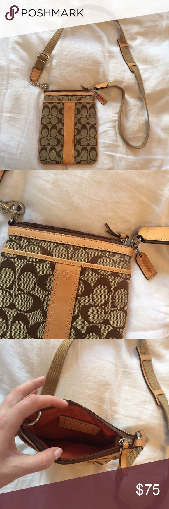 Coach Swingpack Like-new condition. Canvas strap with shoulder pad, canvas with beautiful leather trim. Coach Bags Crossbody Bags