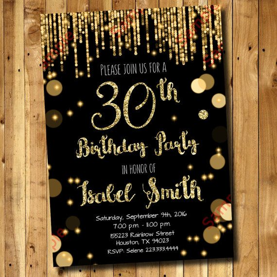 30th Birthday Invitation  Gold Glitter Invitation by DigitAllParty