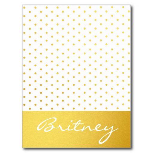 Gold polka dots and monogram - custom post card