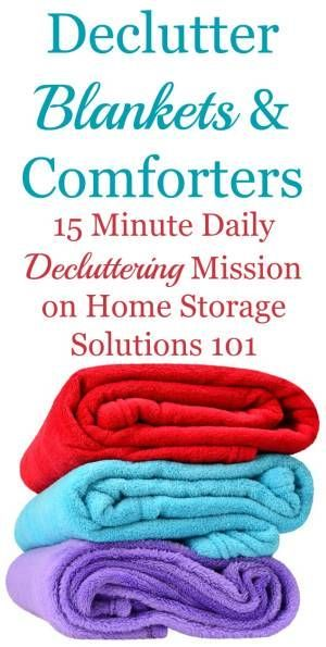 How to declutter blankets, comforters and throws, including guidance on how many blankets to keep, and what to do with the ones you get rid of {a Declutter 365 mission on Home Storage Solutions 101}