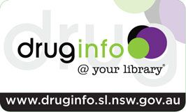 Front of pocket card  - drug info @ your library