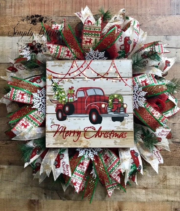 Red Truck Christmas wreath Merry Christmas wreath Red truck | Etsy – Gloria Contreras