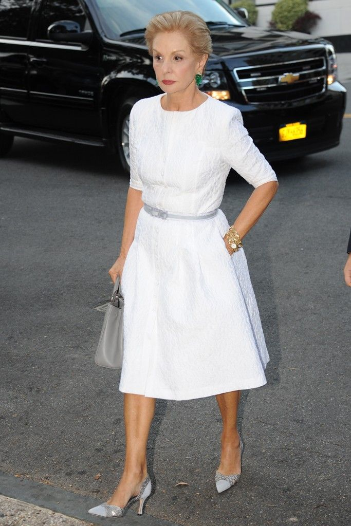 Carolina Herrera. #white #carolinaherrera. I love more modest necklines for older women. Very elegant.