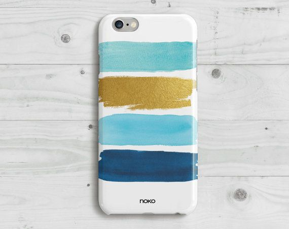DESCRIPTION: NOKO Watercolour Blue & Gold iPhone 6/6S & Plus Case  Designed in Italy - Made in USA  The case is made of transparent polycarbonate