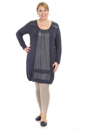 Deri Kombinli Yaka ve Etek Detaylı Tunik TNK5241 Lacivert  #büyükgüzellik #indirim #elbise #satınal #kışlık #moda #fashions #kadın #güzellik #beauty #beautiful #dress #sales #bigsize #büyükbeden